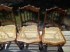 Antique Dark Walnut Stained Spindle Back Chairs with Hand Caned Seats circa 1880