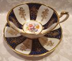 Paragon Navy Blue/White/Gold Gild with Floral Pattern Tea Cup and Saucer