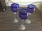 Lot of 3 ~ Bohemian Cobalt Blue ~ Cut to Clear Crystal Wine / Champagne Glasses