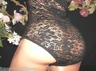 VTG SILKY BLACK FRENCH LACE OB BODYSUIT NIGHTY OR BLOUSE TOP ROMPER LEOTARD S M