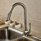Brushed Nickel Swivel Spout Kitchen Sink Faucet Pull Out Sprayer Mixer Tap