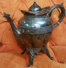 Antique Meriden Silverplate Co Company Teapot Ornate Hinged Lid
