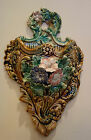 Antique French Majolica Barbotine Wall Pocket Flower Vase Art Nouveau Floral