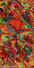 Textile Artist Hand Created Silky Apparel Fabric Red Fall Rich Marble Strokes