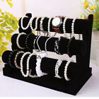 3-Tier Velvet Jewelry Bracelet Watch Bangle Display Holder Stand Showcase T-bars