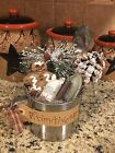 Primitive Country Coffee Cup Gingerbread Xmas Winter Wonderland Gathering Tuck