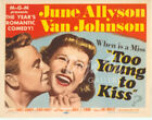 Too Young To Kiss Lobby Card - Title Card  - June Allyson - 1951 - VF
