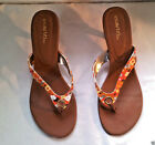Cabrizi Ashley Floral Multi Colors Thong Sandals flip flops 8 1/2 M Brown Shoes