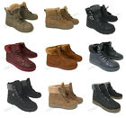 Womens Sneaker Boots Winter High Top Lace up Fur Combat Warm Snow Shoes Sizes