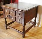 Ethan Allen Old Tavern 2 Drawer End Table 25x25 Dark Antiqued Pine Side Colonial