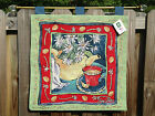 NWT Tea Party Joyce Shelton Tapestry Wall Hanging Art Kettle Floral 26