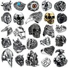 316L Stainless steel steam men punk ring gothic rings skull cool Mens Jewelry