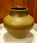 UNUSUAL LARGE VINTAGE POTTERY VASE GERMANY RUSTY ORANGE GREEN SPATTER 8