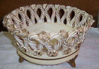Vintage Fratelli Fanciullacci Pottery Majolica Woven Braided Footed Italy Bowl