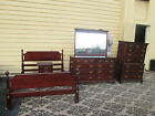 56278  Solid Mahogany KLING Bedroom Set Bed Dresser Mirror High Chest Nightstand