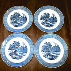 Ives Royal China Blue White Cottage by The Sea Scene 7.25