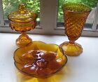 3 Vintage Gold Yellow Glass! Sunflower, Kings Crown Dish w/Lid, Indian Diamond