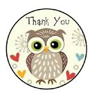 48 Thank You Owl 2 ENVELOPE SEALS LABELS STICKERS 12 ROUND