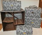Joy Mangano Black Paisley Better Beauty Case Rollup Set w/ Storage Cube - NEW