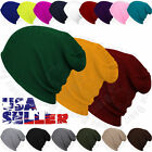 Mens Beanie Hat Knit Winter Cap Solid Skull Slouchy Stretch Fit Plain Cuff Hats