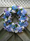 Summer Hydrangea Floral Design Door Wreath~Hand Crafted~Blue/White/Purple
