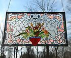 3475 x 2075 Handcrafted Jeweled Beveled stained glass window panel Flower