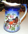 Antique Old Flow Blue Falcon Ware ENGLAND Pitcher with birds