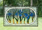 Handcrafted stained glass Beveled Iris Flowers window panel 3475 x 205