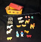 Vintage Wood Toy Ark With Animals Made In Italy