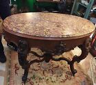 Antique Victorian Walnut Marble top Parlor Table Oval Foyer Hall 1800s Carved