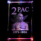2PAC Tupac 2D Laser Etched Crystal + Display Light Base FREE SHIPPING