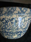 Robinson Ransbottom Roseville Ohio Blue Spongeware Stoneware Medium MIXING BOWL