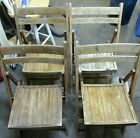 Antique Wooden Folding Chairs Set of 4 Vintage Wood Slat Seats
