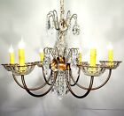 Vintage Antique Chandelier Light Fixture Scrolled Arms Crystal Center Bobeches
