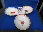 Herend RUST CHINESE BOUQUET Dish 3-Part Relish or Serving Bowl Shell Shaped Rare