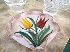Hand Painted Italy Pottery Plate,TULIPS,Scalloped Edges,Gold Trim,Numbered
