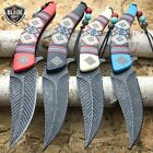 4 PC Native American Indian Spring Open Assisted Pocket Knife Damascus Style SET