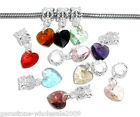 Wholesale Lots Mixed Imitation Heart Crystal Glass Faceted Dangle Bead 24x10mm