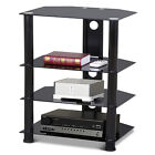 4 tier Media Component Stand AV Plasma Audio Cabinet With Glass Shelf Wall Mount