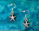 VINTAGE D STARFISH SILVER CHARM EARRINGS LUAU BEACH PARTY NAUTICAL STERLING HOOK