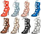 TIGRESS Womens Sexy Lace Up Gladiator High Heel Sandals New