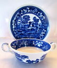 Copeland Spode's Tower Blue Cream Soup Bowl with Stand Gadroon Edge Old Mark