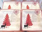 222 Fifth Northwood Cottage White 4 Lg Dinner Plates Christmas Winter Holiday