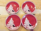 222 Fifth Northwood Cottage Red 4 Small Saucers Plates Christmas Winter Holiday