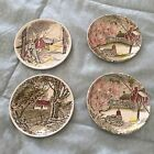 Four Friendly Village Johnson Brothers Porcelain Coasters - Ironstone