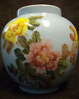 VINTAGE HAND PAINTED CHINESE LARGE BULBOUS VASE ROBIN'S EGG BLUE WITH FLOWERS