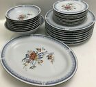 26 Pieces Brand New Imperial Fine China Blue Design And Greek Key, Rust Flowers