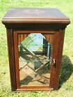 Antique French Oak Art Deco Display Wall Cabinet Beveled Leaded Glass mirror