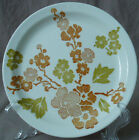 Lot of 5 Vintage Plates Green Orange Flower Blossom Salad Dessert Ceramic 7.5