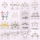25 100Pcs Wholesale Silver Plated Exquisite Cross Spacer Charm Pendant Craft DIY